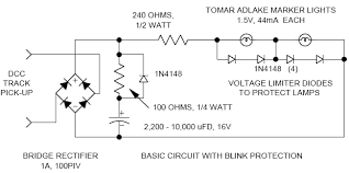 wiring for dcc using miniture lamps if operating in a really dark room one can increase the current limiting resistor value to 270 or 330 ohms for a dimmer more realistic look