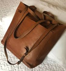 madewell brown english saddle leather medium transport tote bag w strap