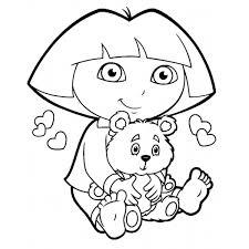 Disegno Di Dora Con Orsetto Da Colorare Per Bambini