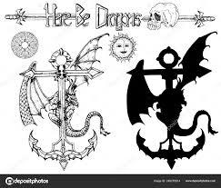 набор страшно подробные дракона сидя древних якорь компас силуэт