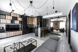 industrial inspired furniture. When Entering The Apartment, A Raw Wood Imitation, Sleek Black Lines, White Walls And Concrete Details Invite To See Further. Space Is Used For Maximum Industrial Inspired Furniture