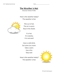 The Weather is Hot - Reading Comprehension Worksheet