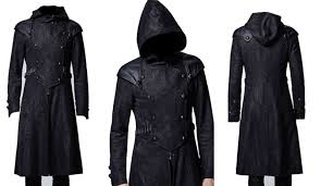 biggest present latest men black double t gothic trench coat for all who love to wear new outfits made from with best quality synthetic leather