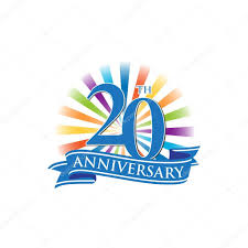 Anniversary Ribbon 20th Anniversary Ribbon Logo With Colorful Rays Of Light Stock