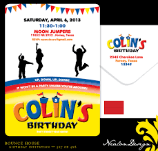 nealon design  bounce house birthday invitation