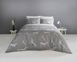 unicorn with holographic stars duvet bedding set with pillowcases