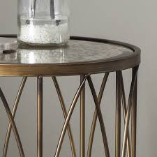 antique gold round side table vintage mirror top image 2