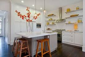 Designs Ideas:White Kitchen With Oranage Flower Arrangement On Small White  Island Feat Wood Stools