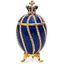Twisted Imperial Faberge Egg / Jewelry Trinket Box w/ Crown in Blue -  Overstock - 32250630