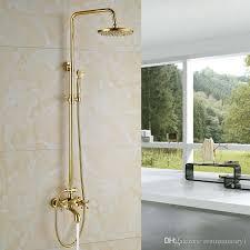 2019 luxury golden bathroom shower mixer taps wall 8 rainfall bath shower faucet set w handshower tub spout from rozinsanitary1 209 05 dhgate com