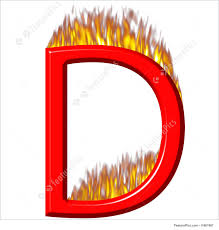 letters and numbers 3d letter d on fire isolated in white