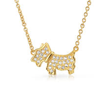 bling jewelry gold plated pave cz scottie dog pendant necklace 15in sterling