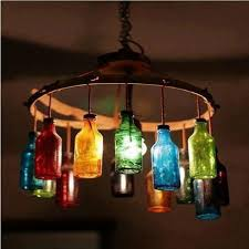 DIY Rainbow glass Bottle #Light #Chandelier - 7 DIY Unique Upcycled Bottle  Lights |