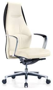 office chair genuine leather white. Wrigley Genuine Leather Aluminum Base Chair, White With Black Accent Office Chair G