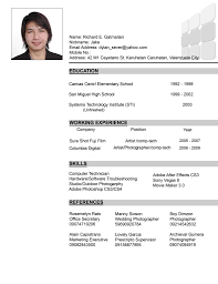 Example Of Resume In Philippines Resume Ixiplay Free Resume Samples