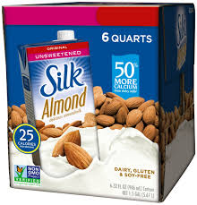 silk almond milk unsweetened original 32 oz pack of 6 shelf le unsweetened