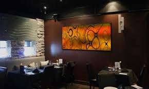 ... Sony Dsc Awesome Restaurant Wall Art Decor Hang On Brown Wall Black  Chair Table With Black ...