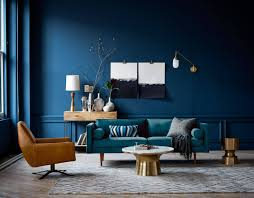 home office dark blue gallery wall. Sophisticated Living Room With Dark Blue Walls And Metallic Finishes | NONAGON.style Home Office Gallery Wall