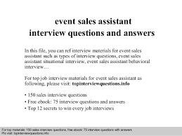 Event Sales Assistant Interview Questions And Answers