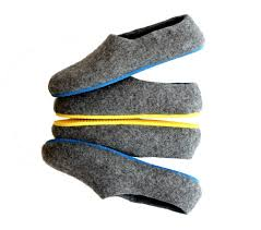 Mens Bedroom Slippers Wide Mens Felt House Shoes Grey Contrast Color Sole Wool Walker