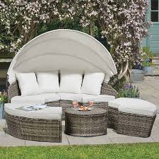 180cm rattan day bed with table tonal