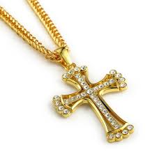 whole iced out cross pendant 18k yellow gold filled mens crucifix pendant chain necklace jewelry design gold charms from blingfashion 14 08 dhgate