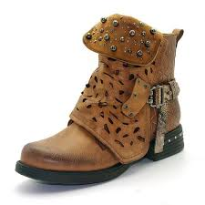 New Rivets Ankle Boots For Women Zip Vintage Buckle Round Toe Leather