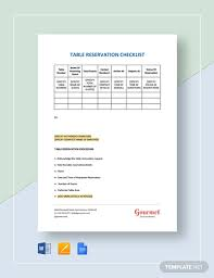 Table Reservation Template Table Reservation Checklist Template Word Google Docs