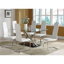 Coaster Furniture WHT Modern Dining Faux Leather Dining - Faux leather dining room chairs