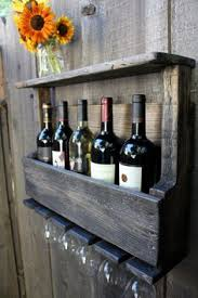 pallet wine rack. DIY Reclaimed Pallet Wood Rustic Wine Rack Glass Holder With Shelf In Dark Distressed Wash Small Size