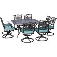 hanover traditions 9 piece outdoor square patio dining set and 8 swivel rockers with blue