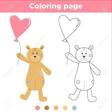 Happy Birthday Heart Coloring Page With For Kids Cartoon Teddy Bear