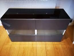 ikea besta two door cabinet entertainment unit high gloss grey glass doors
