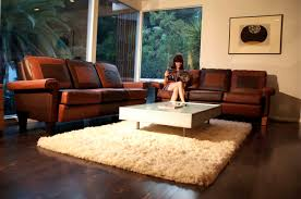 brown leather living room furniture. White Fur Rug With Glass Top Living Room Table And Dark Brown Leather Sofa Arms For Small Spaces Hardwood Floor Tiles Large Furniture