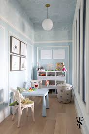 Wallpapered office home design Ceiling Chic Dental Office Kids Playroom Blue Walls With Wallpapered Ceiling Animal Artwork Interior Summer Thornton Design Chic Dental Office Summer Thornton Design