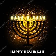 hanukkah greeting card with candleenorah happy hanukkah stock vector