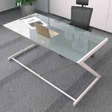 post glass home office desks. Tempered Glass Computer Desk With Z-Shaped Metal In Black Colors For Home Office Furniture Post Desks .