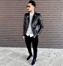 photo of a man wearing black leather jacket