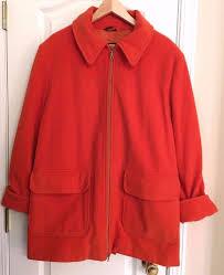 Utex Design Utex Design Orange Wool Cashmere Coat Lined Size Large Ebay
