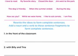 Sentence Fragments Work On Writing Sentence Fragments Worksheet Education Com