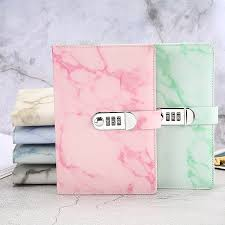 <b>New Leather notebook diary</b> with lock password code stationery ...