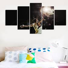 5 panel basketball star nba group painting children s room decor print poster canvas painting wall art