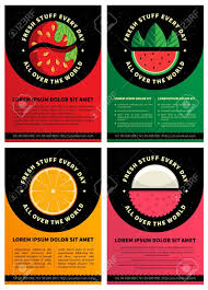 Graphic Design Brochure Templates Set Of Four Graphic Design Brochure Templates With Fresh Fruits