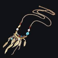 details about creative long leaf crystal tassel necklace chain lady leaf pendant necklace at