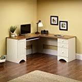 white home office furniture. sauder harbor view corner computer desk, antiqued white home office furniture