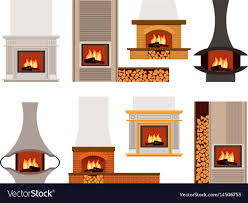 set of classical and modern fireplaces vector image