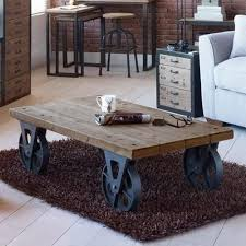 industrial furniture wheels. Large Industrial Wooden Iron Coffee Table With Black Wheels Retro Side Vintage In Home, Furniture