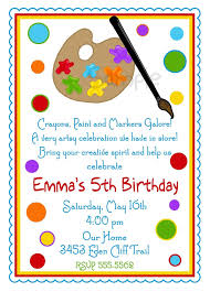 Boys Birthday Party Invitations Templates Art Birthday Party Invitations For Your Kids Free