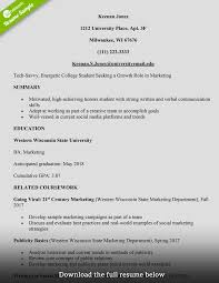 Resume Templates College Student Marketing Fascinating Format