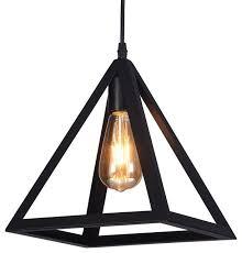raekor 10 modern black iron frame square pyramid hanging mini pendant light transitional pendant lighting by pf accessories